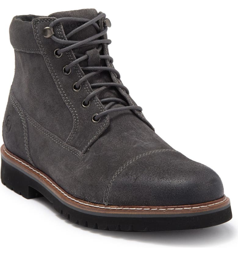 ROCKPORT Marshall Leather Cap Toe Boot - Wide Width Available, Main, color, STEEL GREY