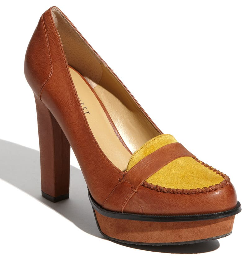 NINE WEST 'Unmixed' Pump, Main, color, MEDIUM NATURAL/ YELLOW LEATHER
