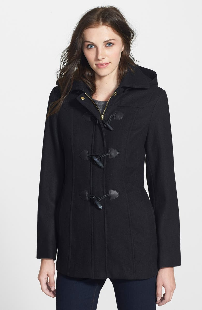 ELLEN TRACY Toggle Closure Wool Blend Duffle Coat, Main, color, 001