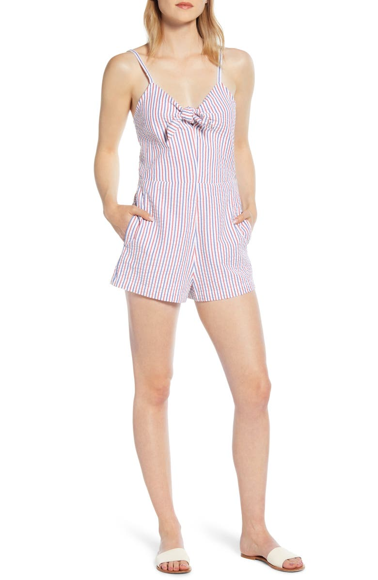 VINEYARD VINES Firework Seersucker Tie Front Romper, Main, color, 634
