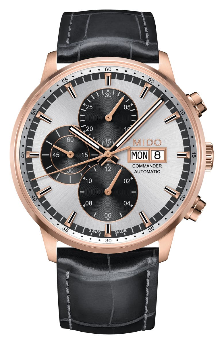 MIDO Commander Chronometer Leather Strap Watch, 42mm, Main, color, BLACK/ SILVER/ ROSE GOLD