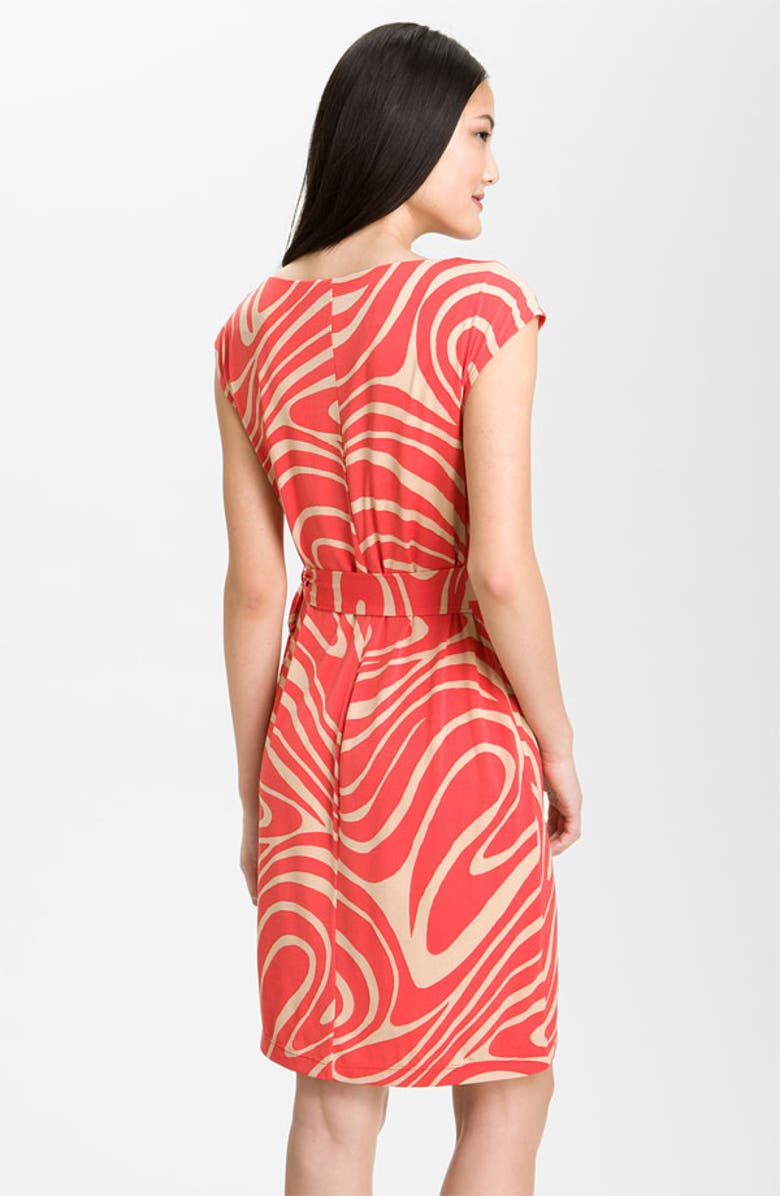DONNA MORGAN Side Tie Jersey Dress, Main, color, CORAL NEUTRAL