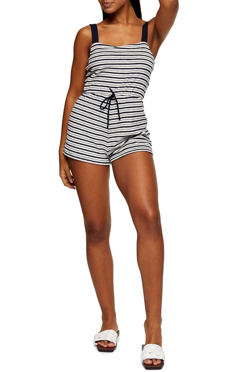 TOPSHOP Stripe Square Neck Sleeveless Cover-Up Romper, Main, color, 002