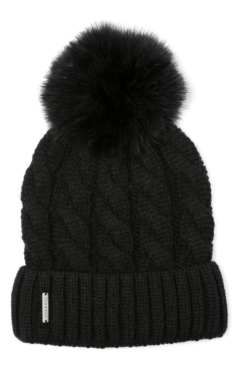 SOIA & KYO Cable Knit Beanie with Removable Feather Pompom, Main, color, 001