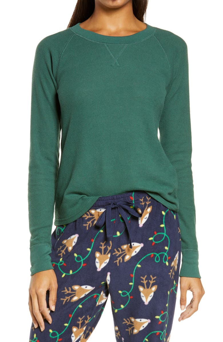 NORDSTROM Long Sleeve Thermal T-Shirt, Main, color, GREEN TREKKING