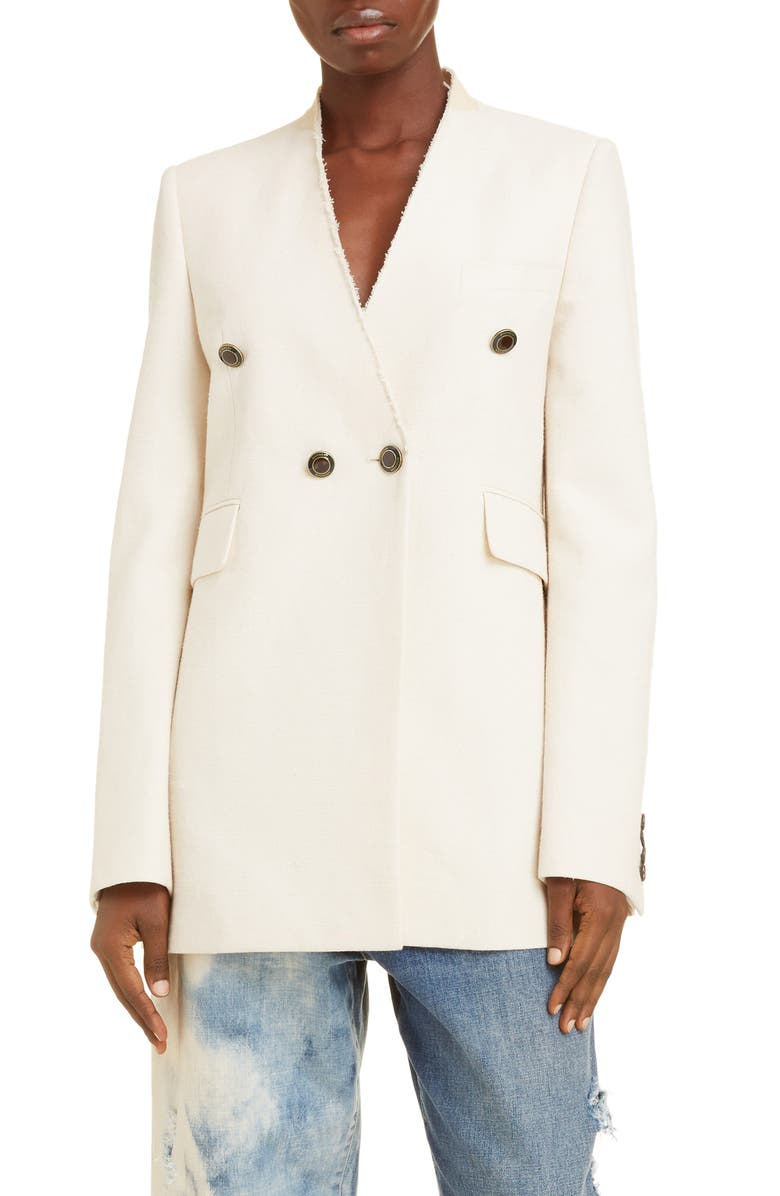 GIVENCHY Collarless Double Breasted Jacket, Main, color, ECRU