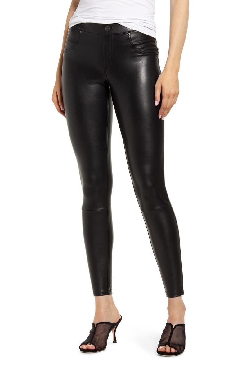 HUE Faux Leather Leggings, Main, color, BLACK
