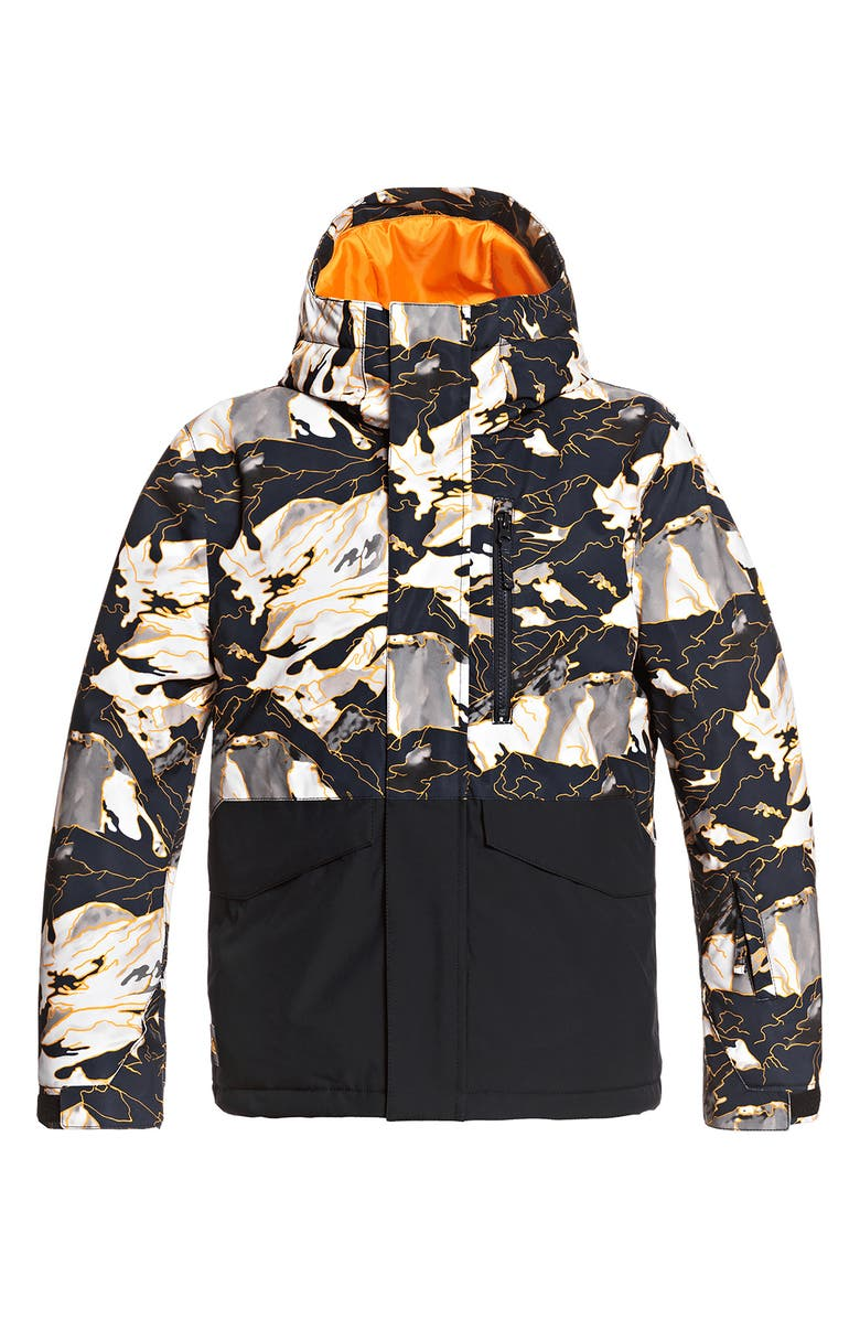 QUIKSILVER Kids' Mission Waterproof Hooded Snow Jacket, Main, color, FLAME NATURE ABSTRACT