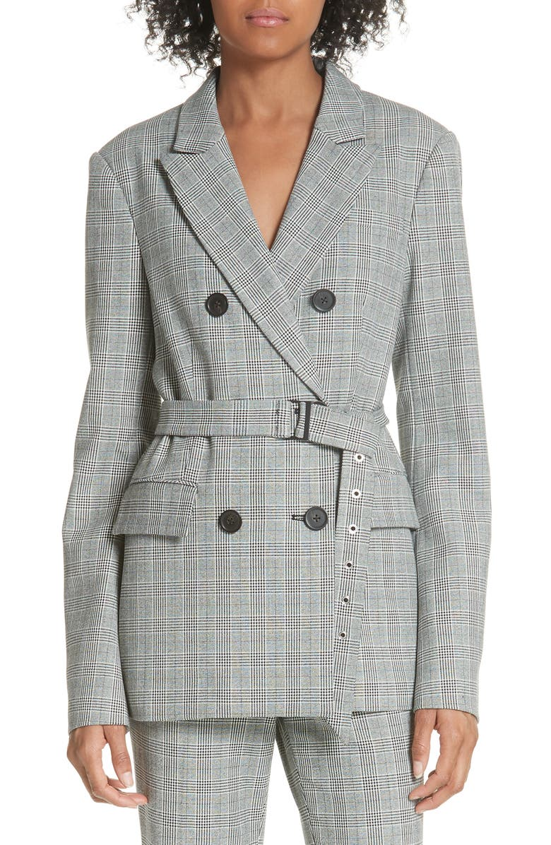 TIBI Belted Glen Check Blazer, Main, color, 004