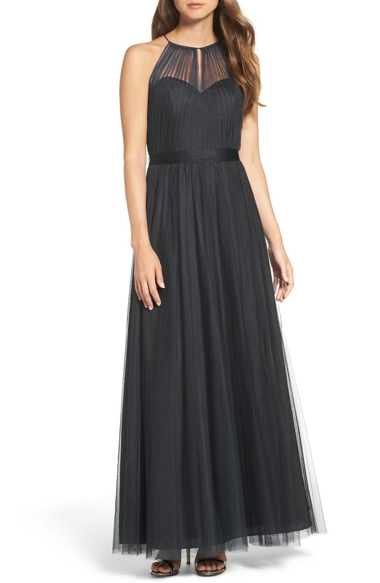 WTOO Tulle Halter Neck Gown, Main, color, 001