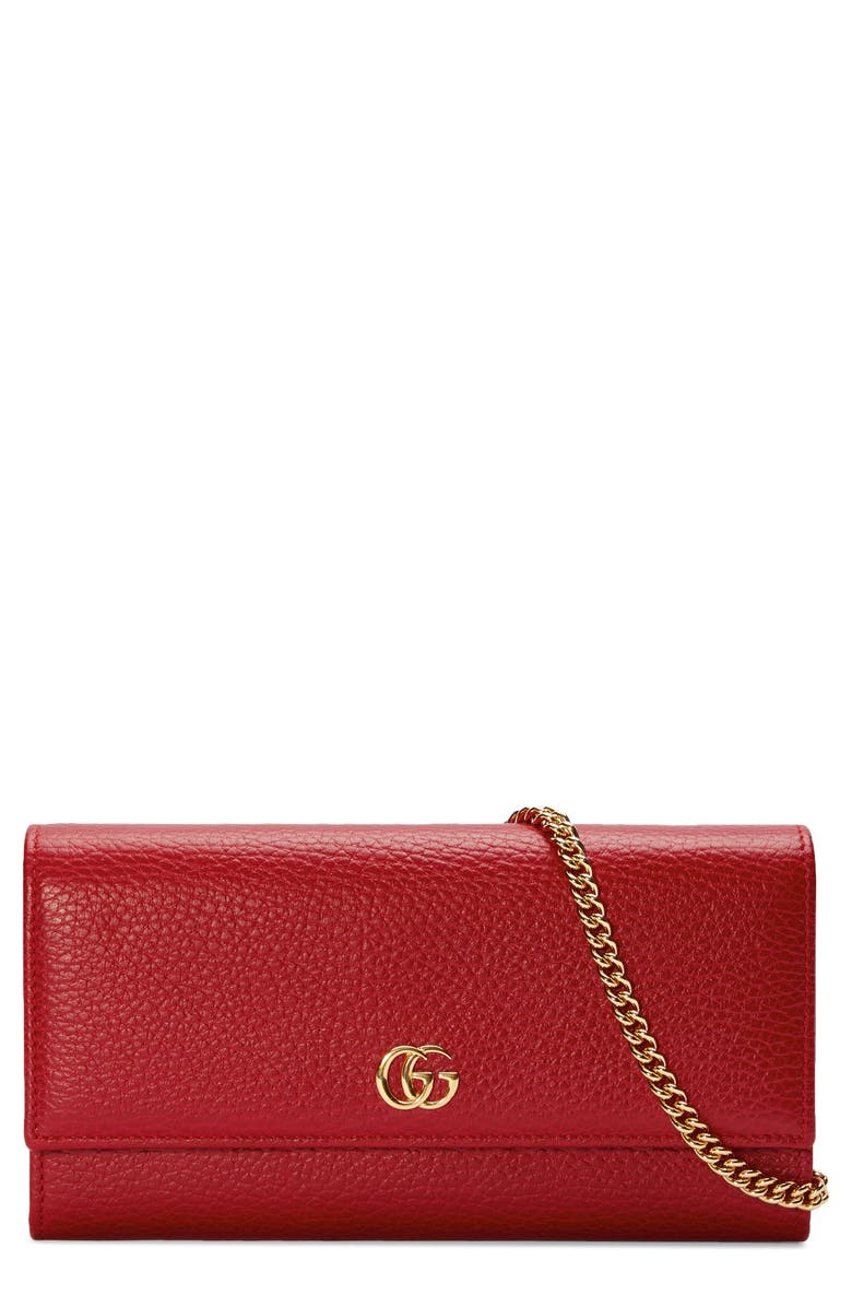 GUCCI Petite Leather Continental Wallet on a Chain, Main, color, 625