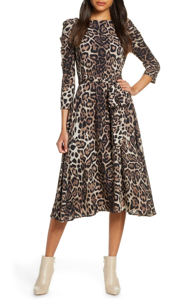 ELIZA J Leopard Print Long Sleeve Midi Dress, Main, color, 200
