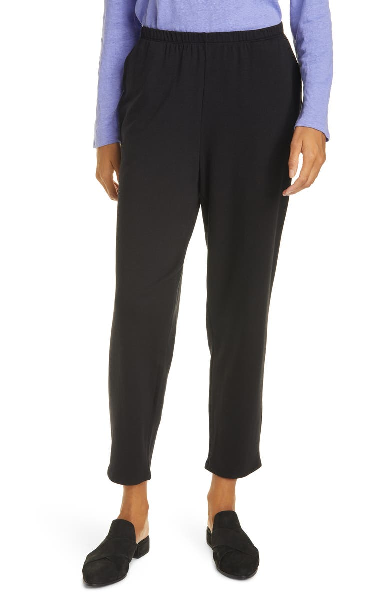 EILEEN FISHER Cozy Brushed Terry Tapered Ankle Pants, Main, color, BLACK