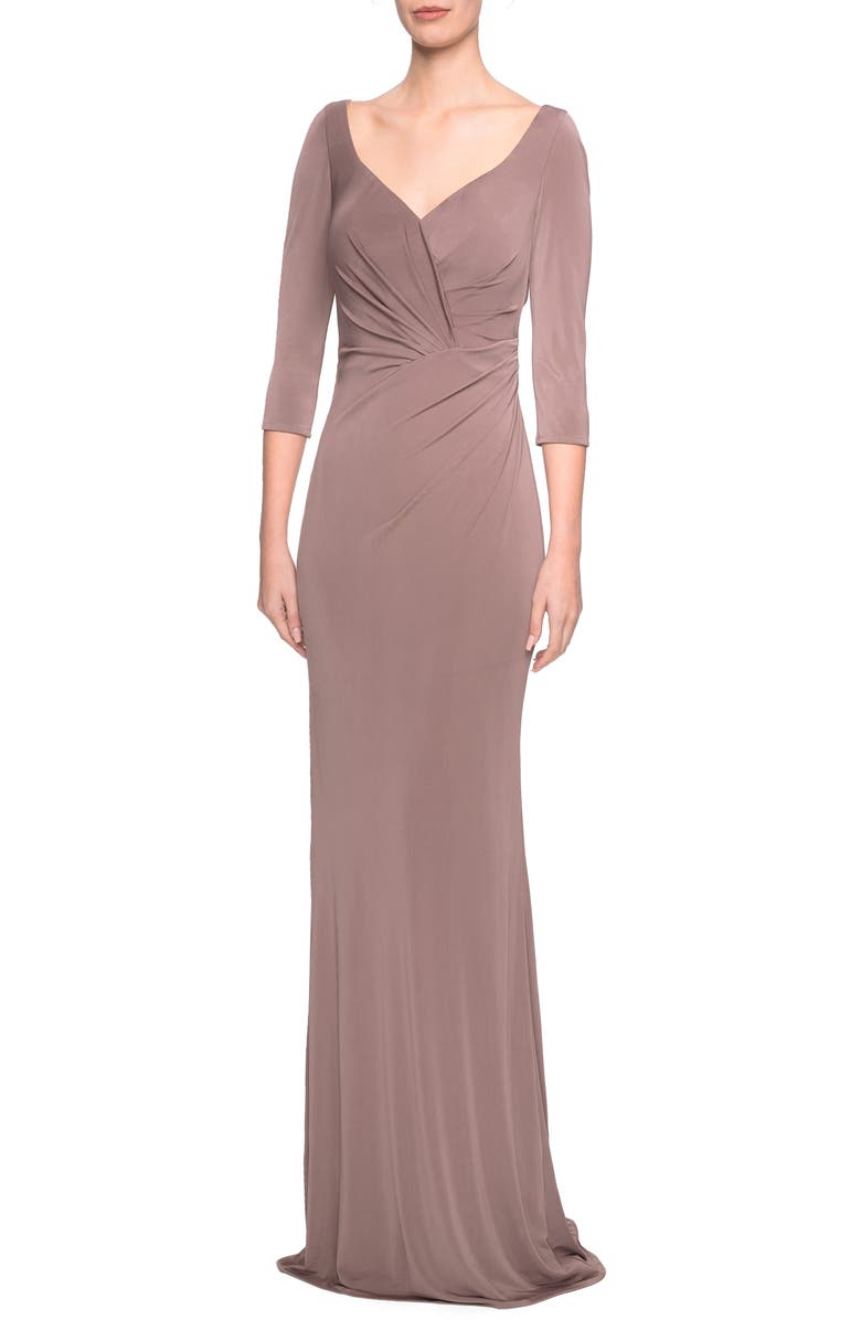 LA FEMME Ruched Jersey Column Gown, Main, color, COCOA