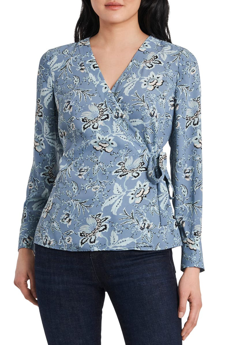 VINCE CAMUTO Vince Camtuo Antique Floral Side Tie Long Sleeve Blouse, Main, color, 477