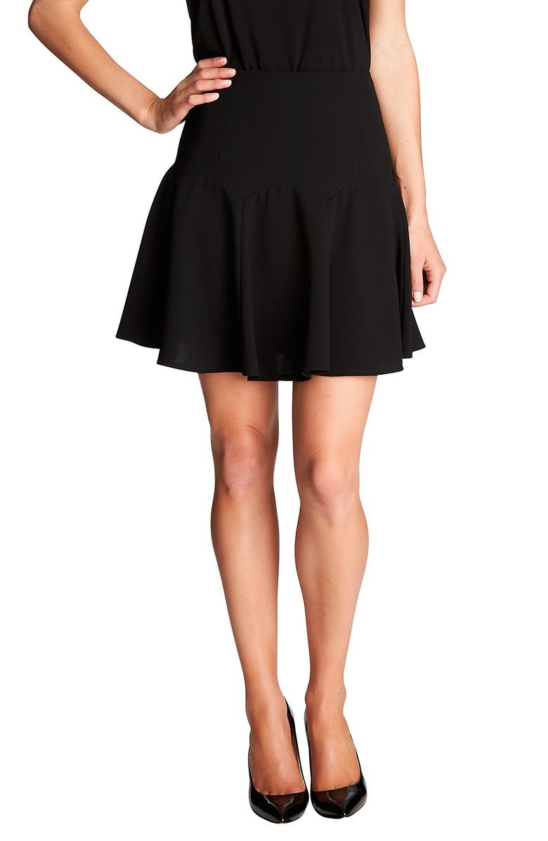 CECE by Cynthia Steffe Stretch Crepe Flounce Skirt, Main, color, RICH BLACK