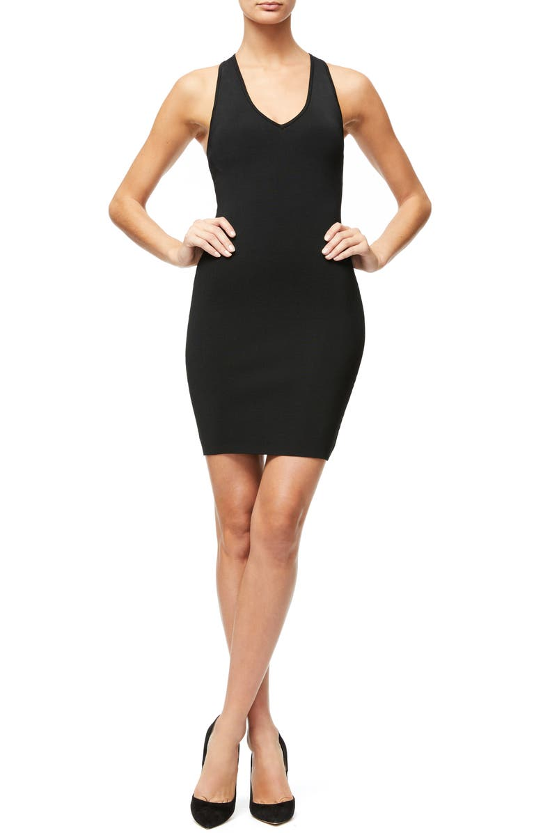 GOOD AMERICAN Ribbed Body-Con Dress, Main, color, 001
