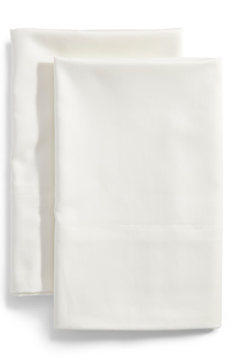 NORDSTROM 300 Thread Count Set of 2 Cotton & Tencel<sup>®</sup> Lyocell Pillowcases, Main, color, IVORY