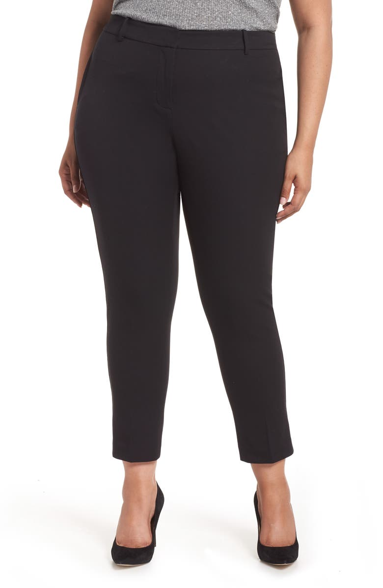 1.STATE Stretch Cotton Blend Twill Ankle Pants, Main, color, RICH BLACK