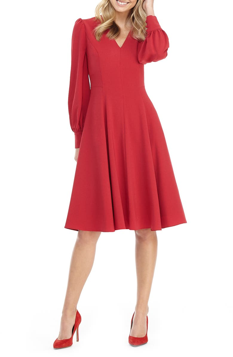 GAL MEETS GLAM COLLECTION Layla Long Sleeve Fit & Flare Dress, Main, color, 500