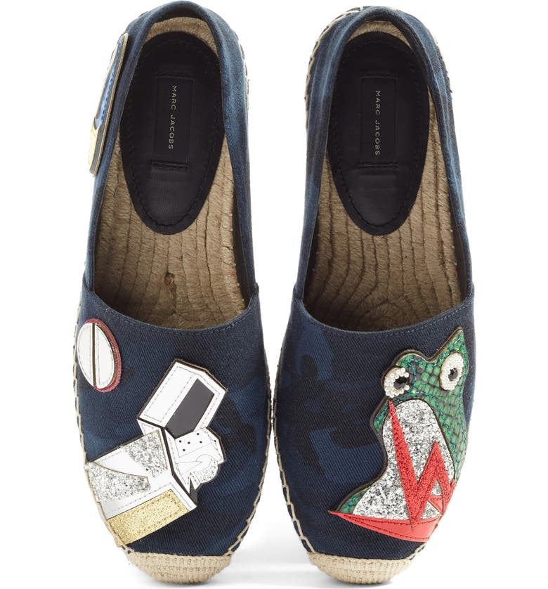 MARC JACOBS Sienna Frog Espadrille Flat, Main, color, NAVY MULTI