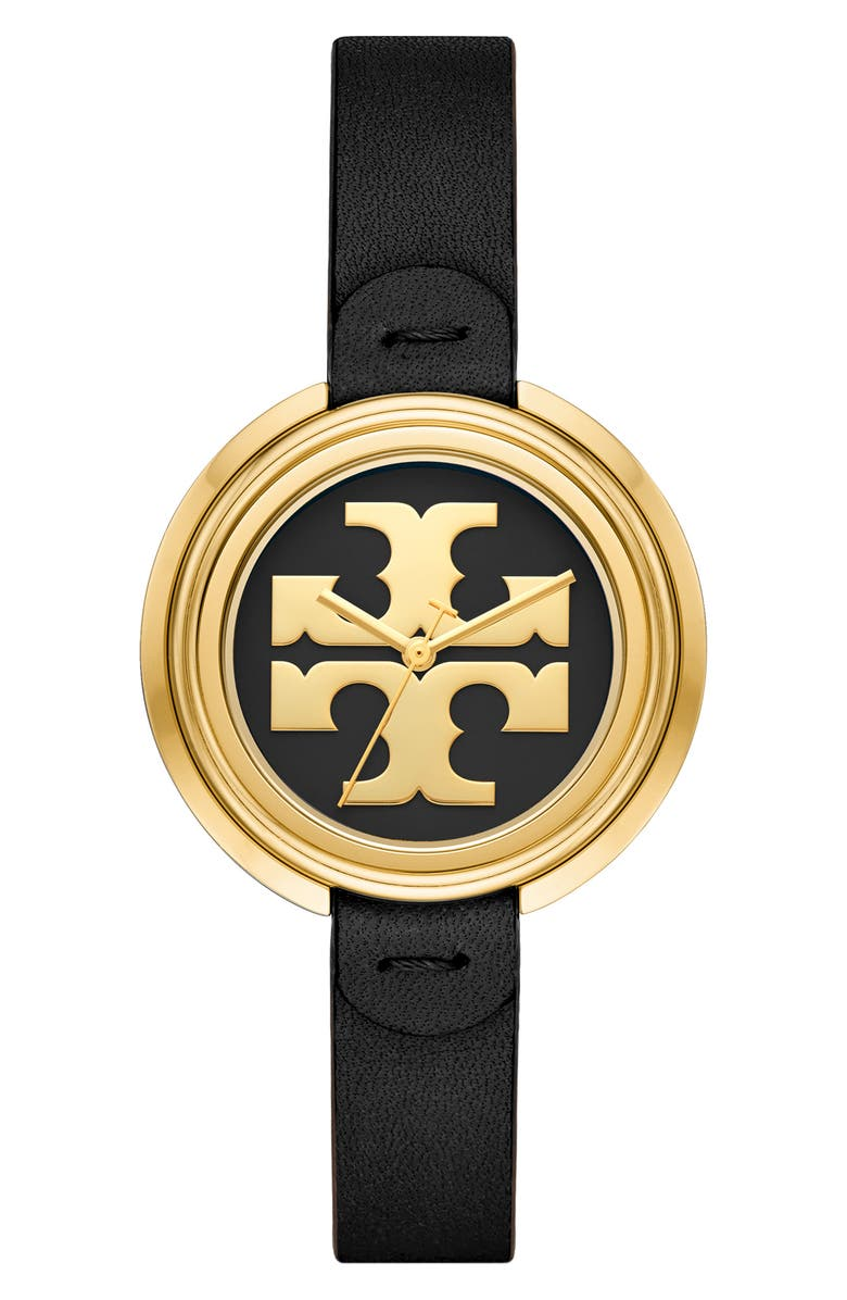 TORY BURCH The Miller Leather Strap Watch, 36mm, Main, color, BROWN/ BLACK/ GOLD