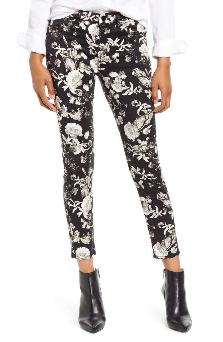 JEN7 by 7 For All Mankind High Waist Floral Print Ankle Skinny Jeans, Main, color, 001