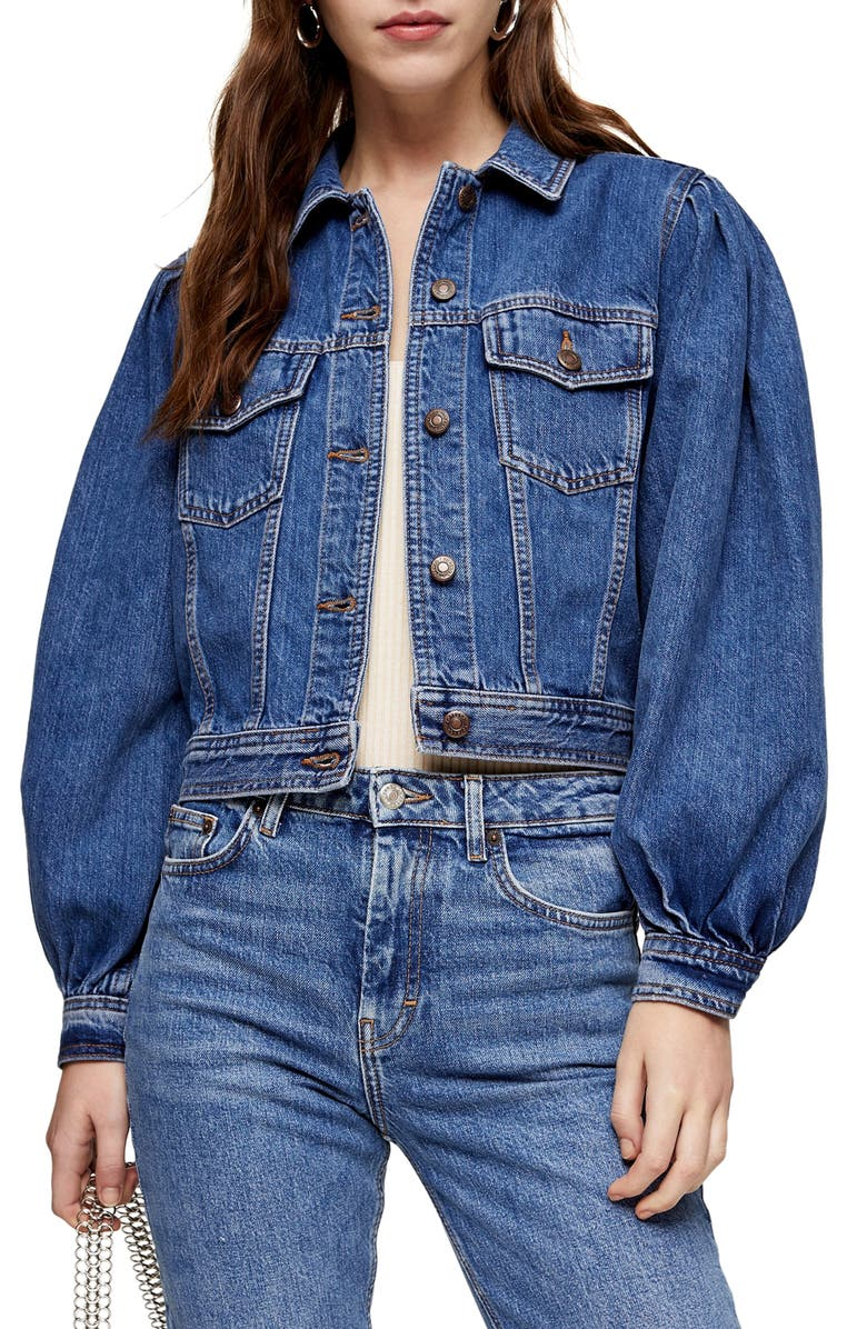 TOPSHOP Tilda Denim Jacket, Main, color, 400