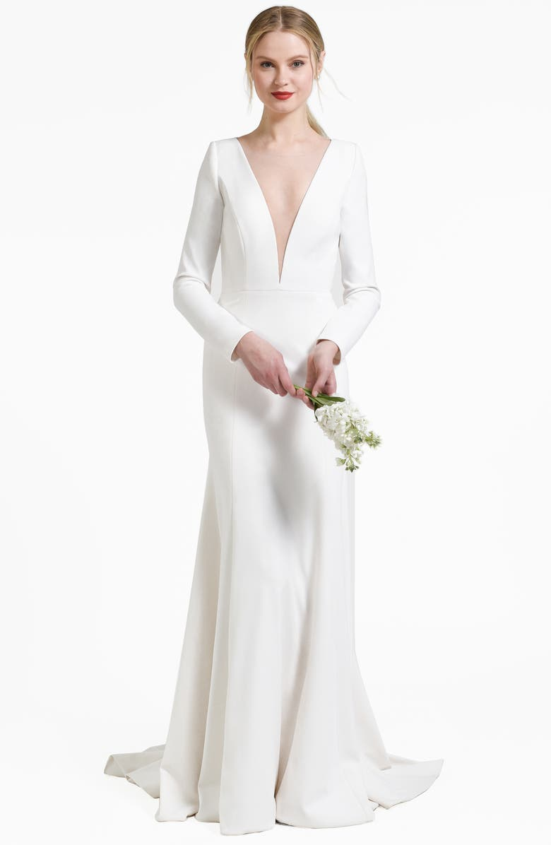 JENNY BY JENNY YOO Blythe Plunging Crepe Gown, Main, color, IVORY