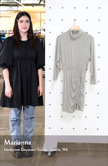 Ruched Turtleneck Long Sleeve Dress, sales video thumbnail