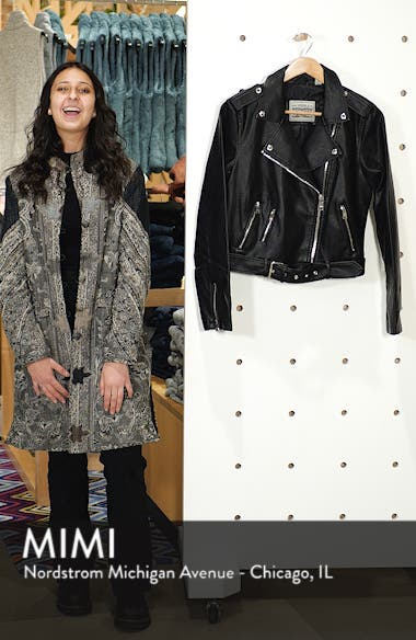 Faux Leather Fashion Belted Moto Jacket, sales video thumbnail