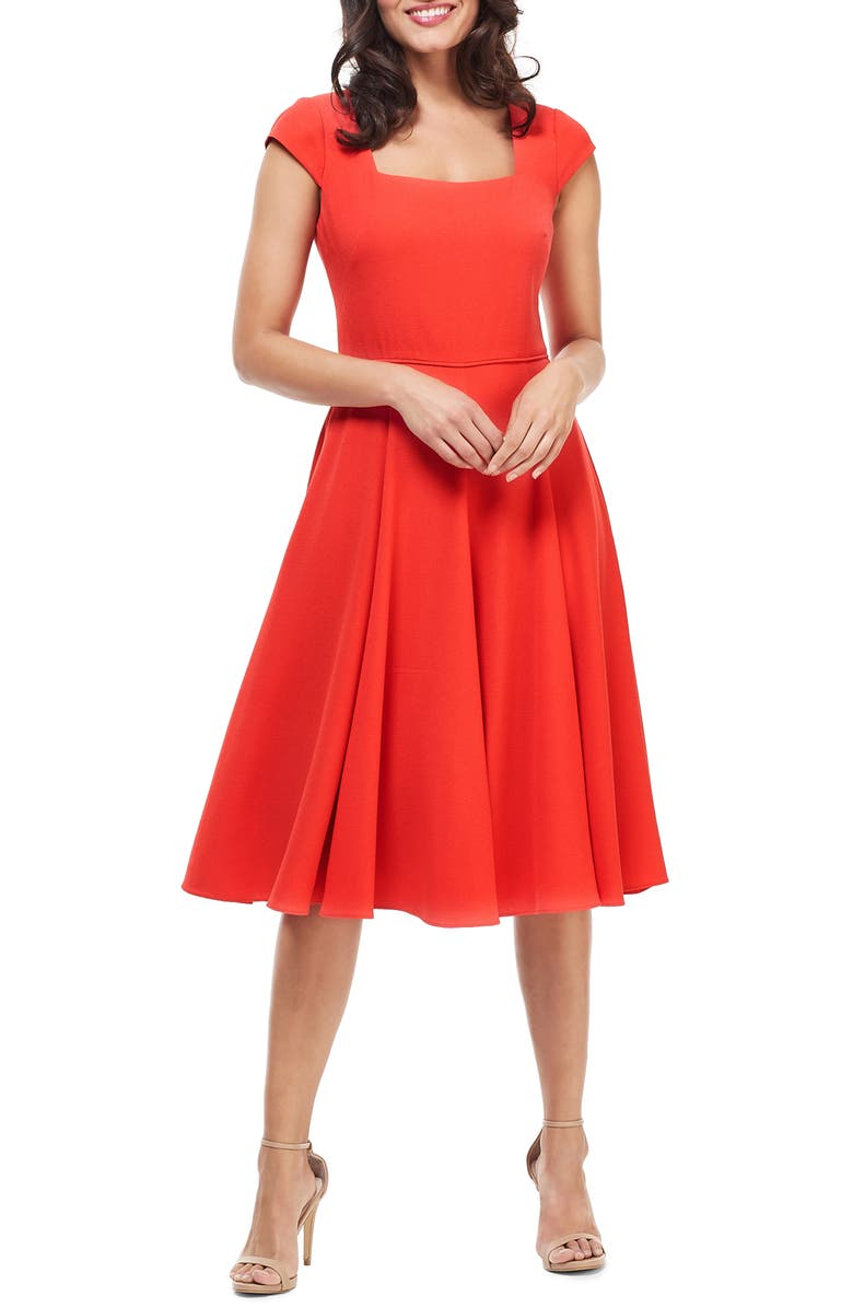 GAL MEETS GLAM COLLECTION Regina Square Neck Fit & Flare Dress, Main, color, VENETIAN RED