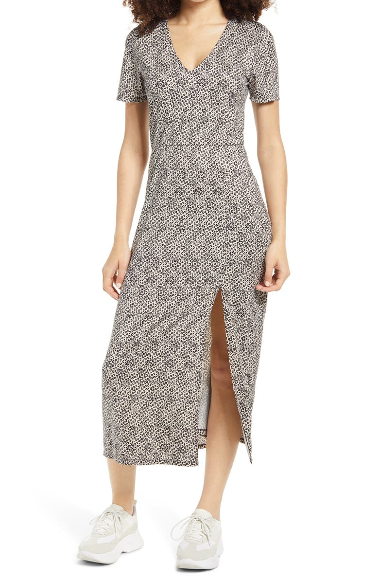WAYF Alexa Short Sleeve Midi Dress, Main, color, CHEETAH