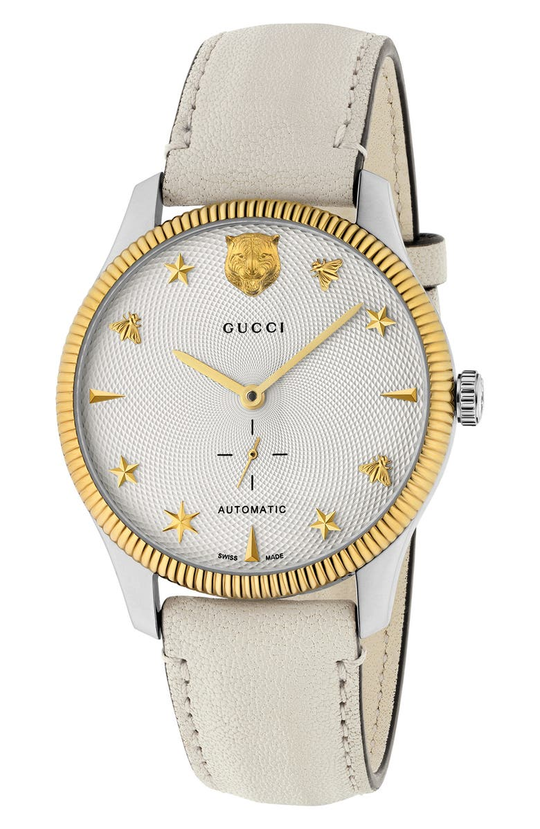GUCCI G-Timeless Leather Strap Watch, 40mm, Main, color, 100