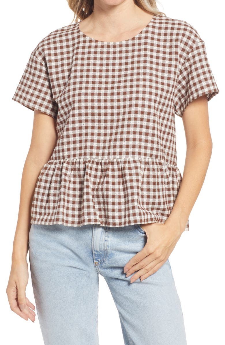 MADEWELL Medford Peplum Cotton Top, Main, color, RICH BROWN
