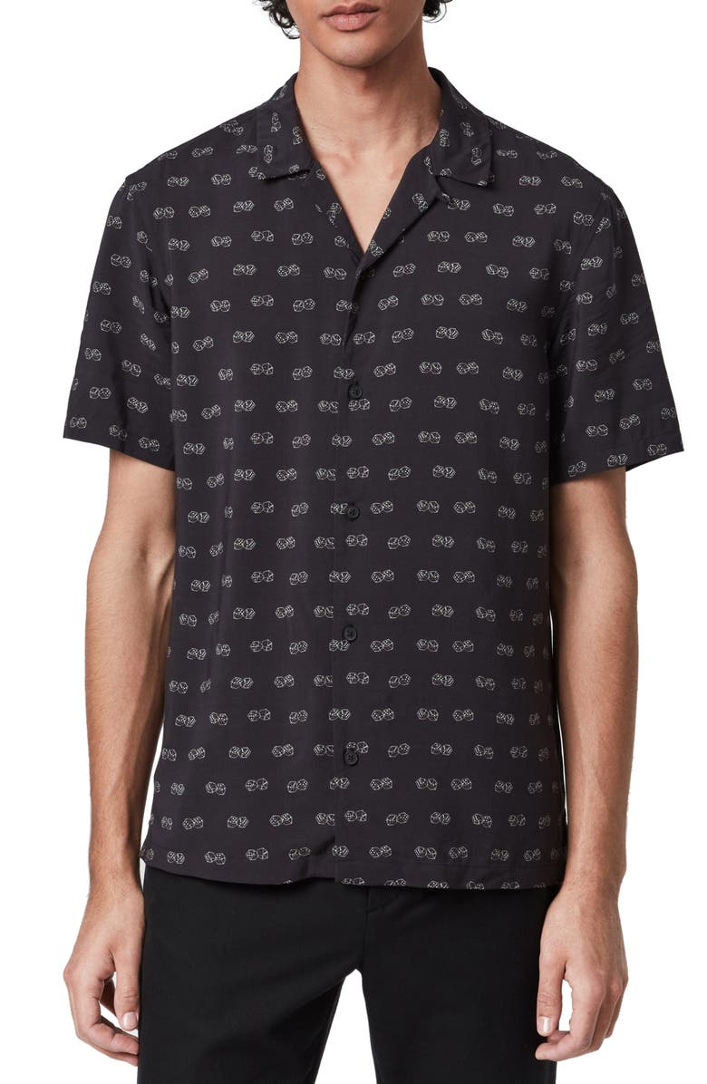 ALLSAINTS Snakeyes Slim Fit Short Sleeve Button-Up Camp Shirt, Main, color, BLACK