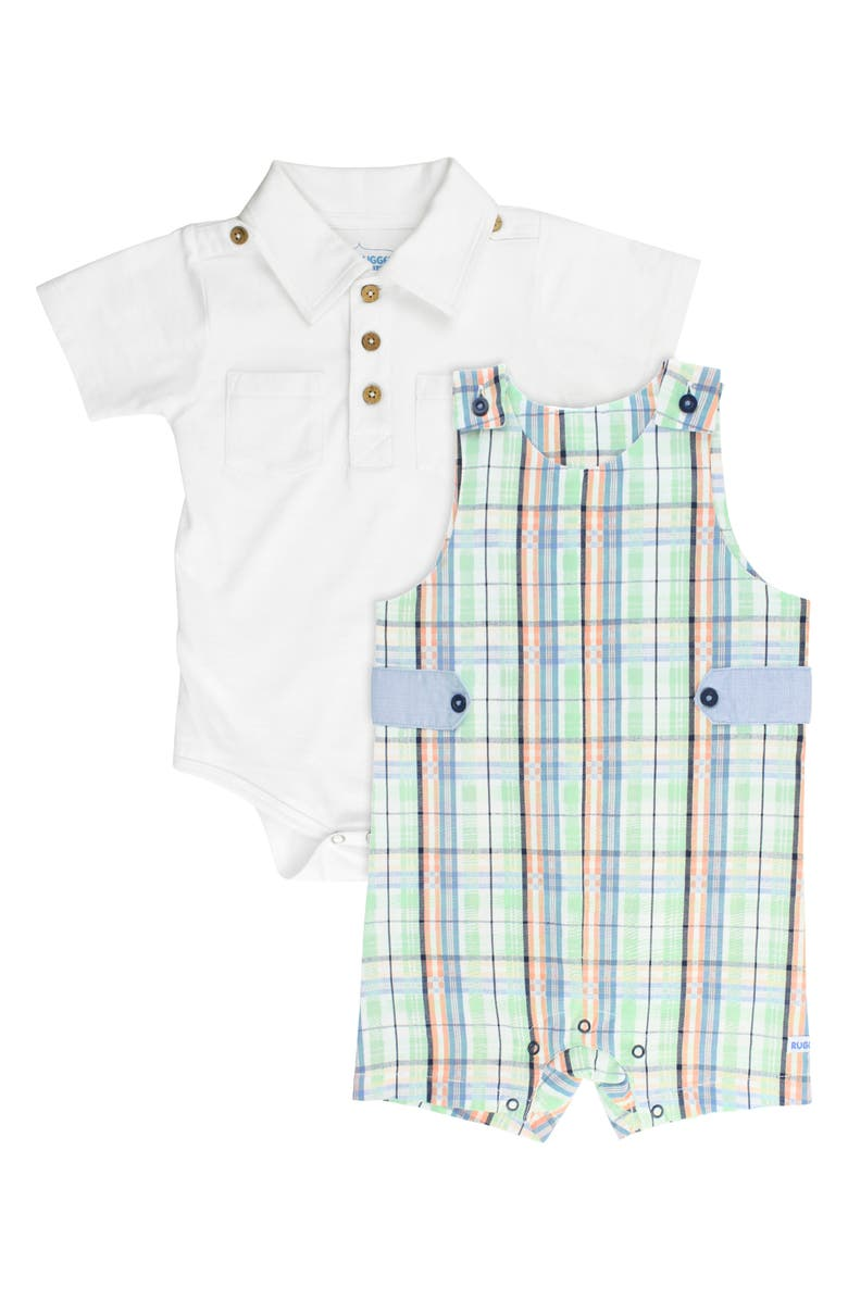 RUGGEDBUTTS Knox Bodysuit & Plaid Overalls Set, Main, color, 100