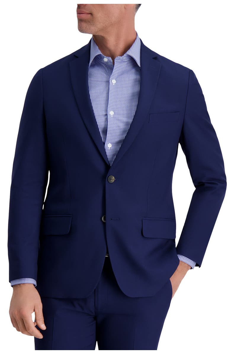 LOUIS RAPHAEL Slim Fit Stretch Striated Solid Two Button Jacket, Main, color, MIDNIGHT