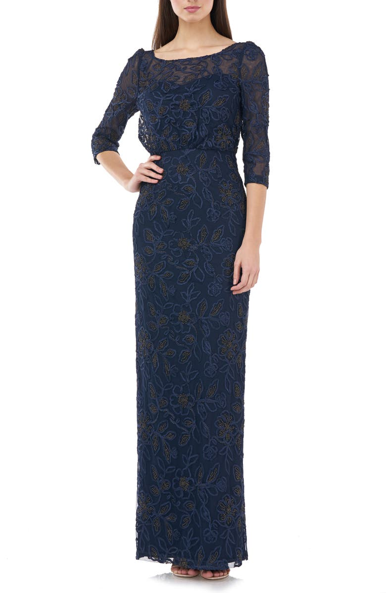 JS COLLECTIONS Metallic Soutache Blouson Mesh Gown, Main, color, NAVY GOLD