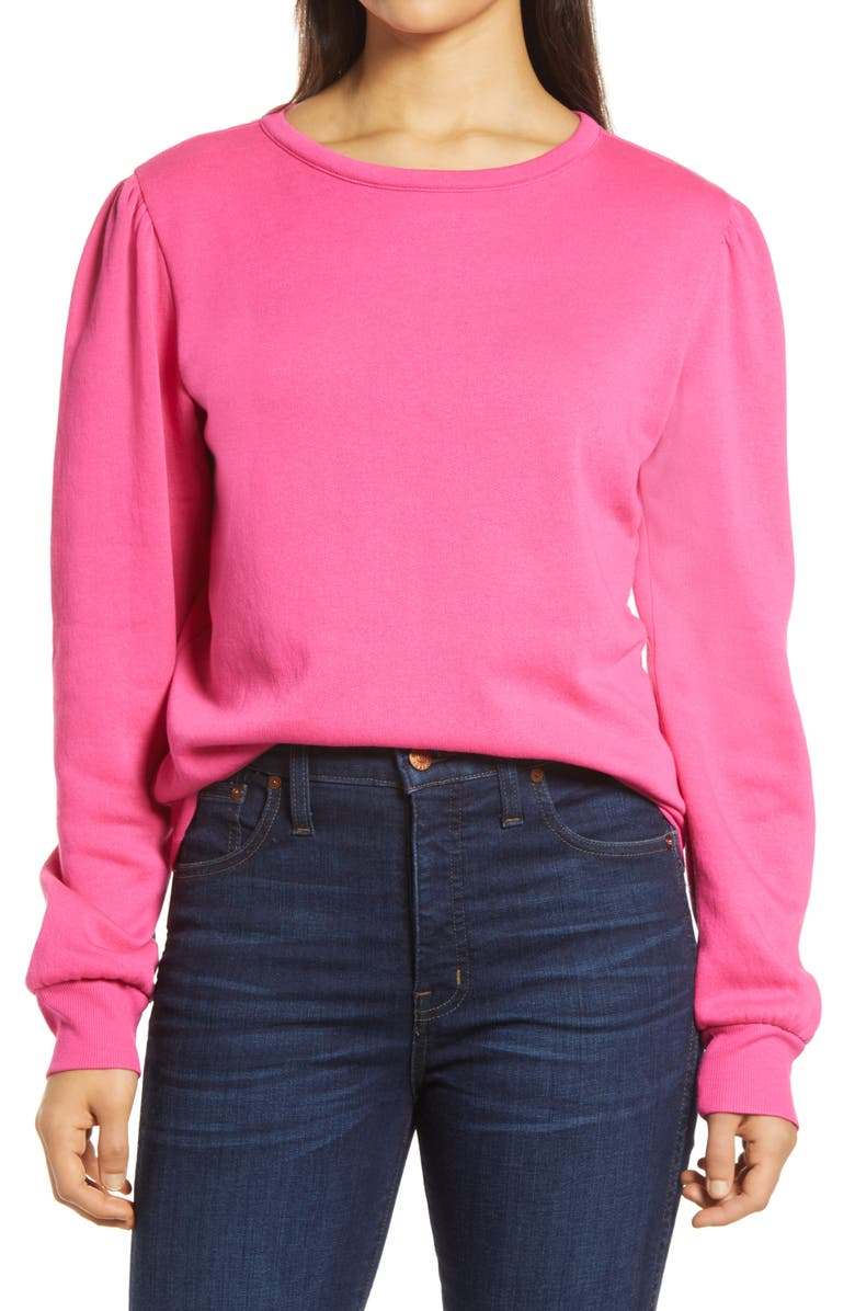 HALOGEN<SUP>®</SUP> Puff Sleeve Sweatshirt, Main, color, PINK NEON