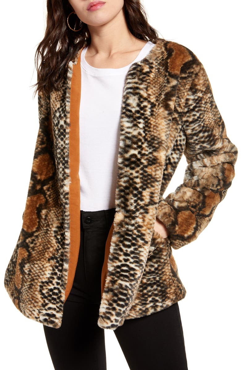 BAND OF GYPSIES Serpent Faux Fur Open Front Jacket, Main, color, 200