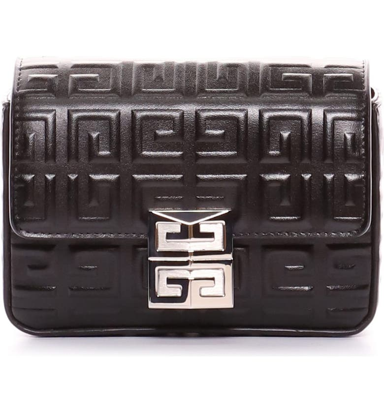 GIVENCHY Small 4G Embossed Leather Crossbody Bag, Main, color, BLACK