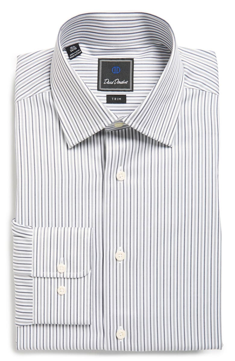 DAVID DONAHUE Trim Fit Stripe Dress Shirt, Main, color, 021