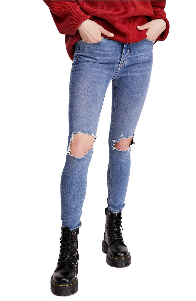 FREE PEOPLE Ripped High Waist Skinny Jeans, Main, color, NAVY