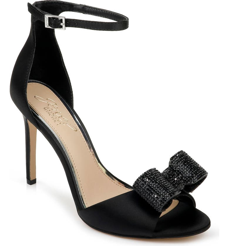 JEWEL BADGLEY MISCHKA Urania Crystal Bow Ankle Strap Sandal, Main, color, 015