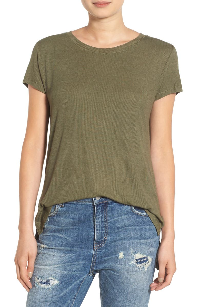 BP. High/Low Stretch Knit Tee, Main, color, OLIVE BURNT