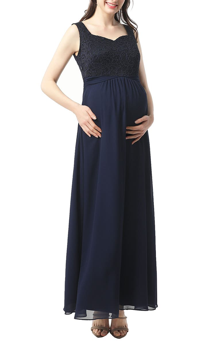 KIMI AND KAI Kyra Empire Waist Maternity Gown, Main, color, NAVY