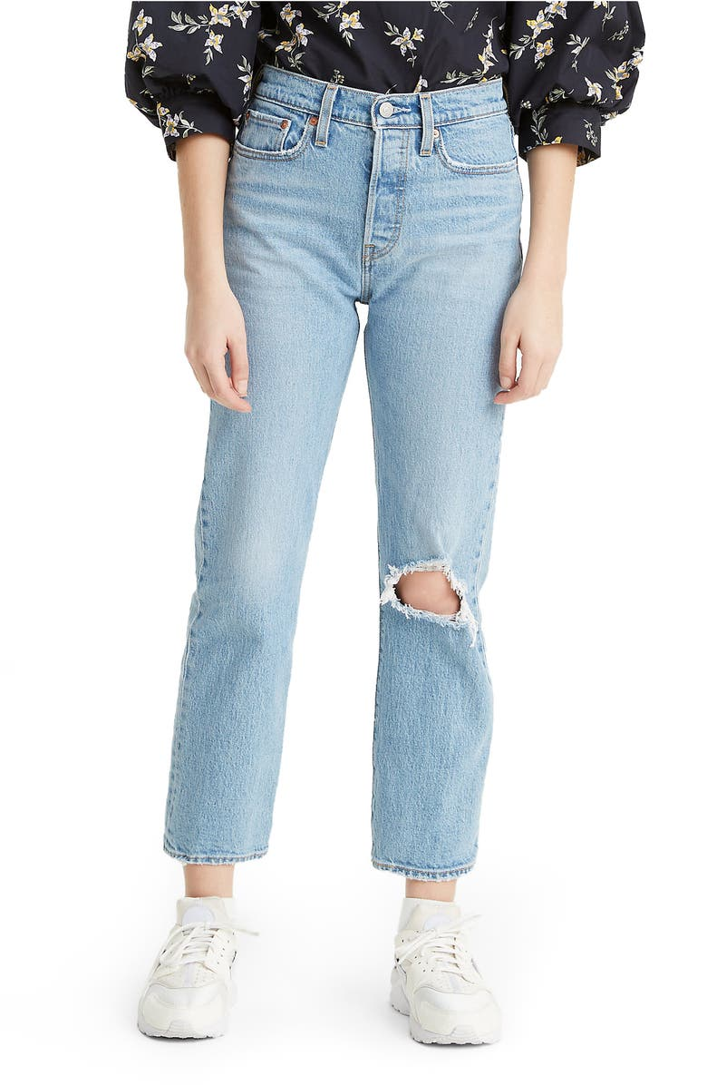 LEVI'S<SUP>®</SUP> Wedgie Ripped High Waist Jeans, Main, color, TANGO FRAY