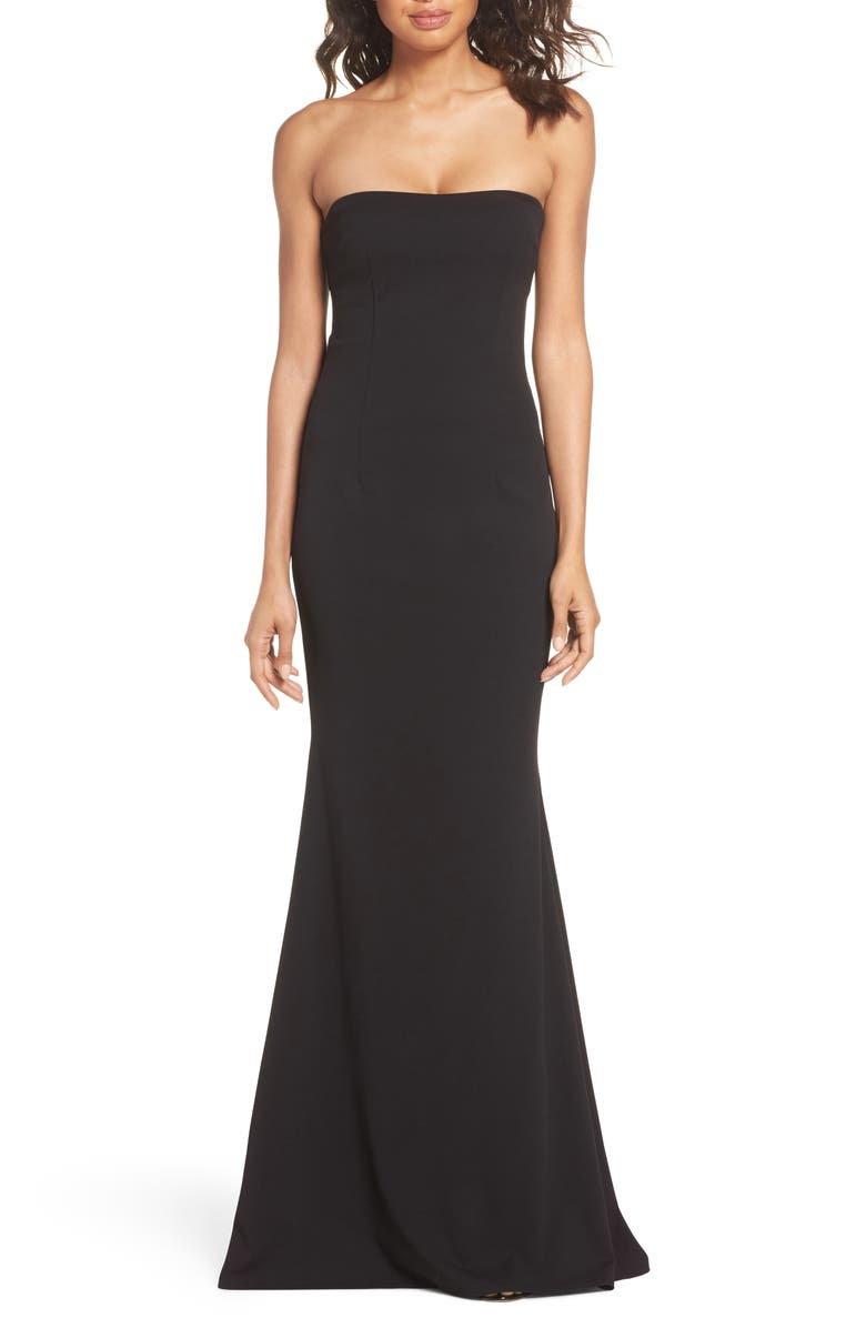 KATIE MAY Mary Kate Strapless Cutout Back Gown, Main, color, 001