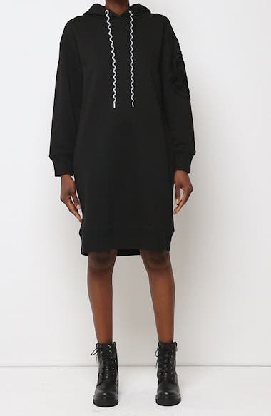 Logo Embroidered Long Sleeve Hoodie Dress, video thumbnail